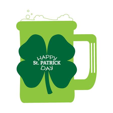 Patrick day beer with a clover. Vector illustration design Illustration