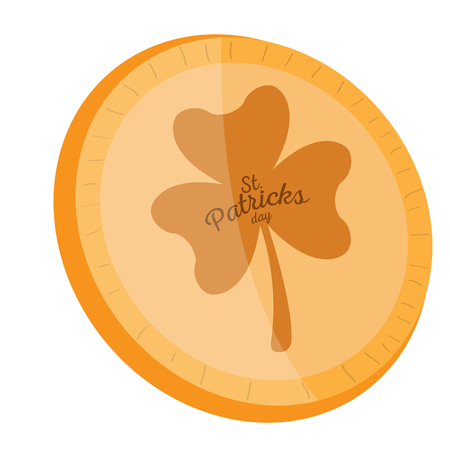 Golden coin with a clover icon. Patrick day. Vector illustration design