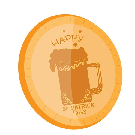Golden coin with a beer icon. Patrick day. Vector illustration design