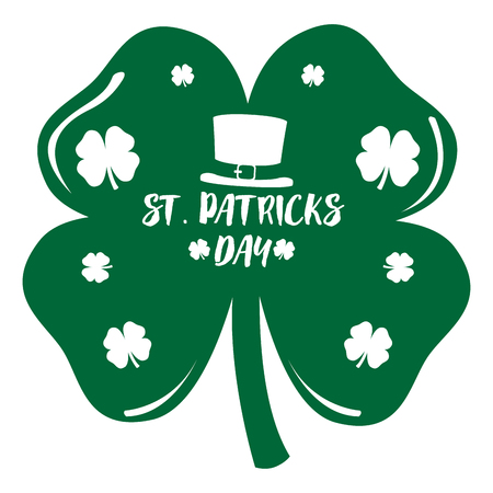 Patrick day clover with an irish hat icon. Vector illustration design