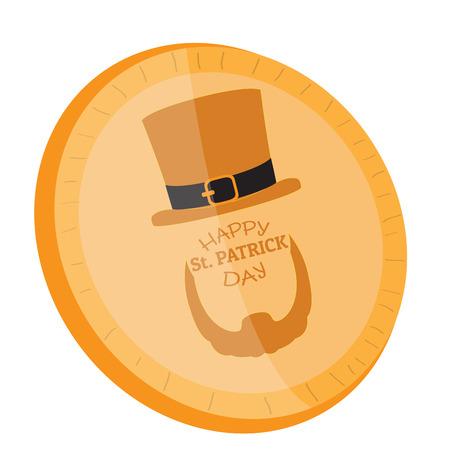 Golden coin with an abstract irish elf. Vector illustration design Illustration