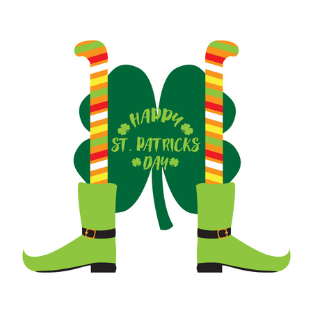 Pair of irish elf legs and a clover. Patrick day. Vector illustration design