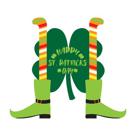 Pair of irish elf legs and a clover. Patrick day. Vector illustration design