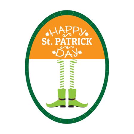 Patrick day label with irish elf legs. Vector illustration design