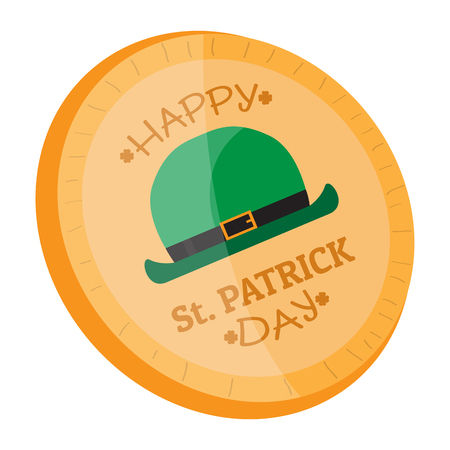 Golden coin with an irish hat icon. Vector illustration design
