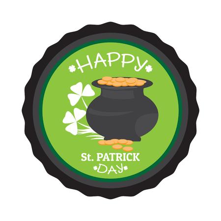 Patrick day label with a golden coin pot. Vector illustration design Illustration