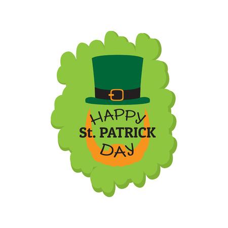 Patrick day label with an abstract irish elf. Vector illustration design Illustration