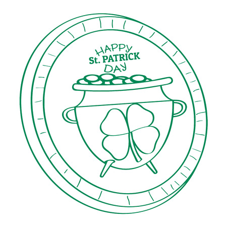 Outline of a golden coin with a golden coin pot. Patrick day. Vector illustration design