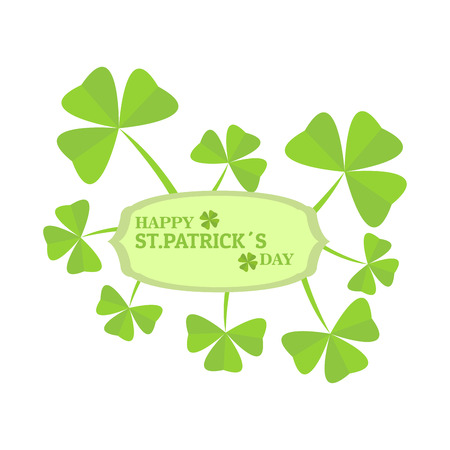 Patrick day label with clovers. Vector illustration design