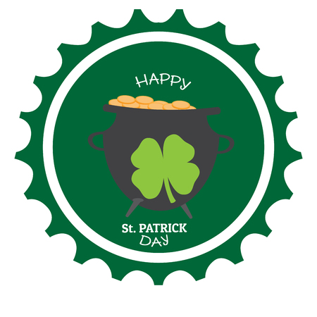 Patrick day label with a golden coin pot. Vector illustration design Vettoriali