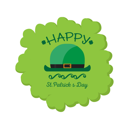 Patrick day label with irish elf legs. Vector illustration design