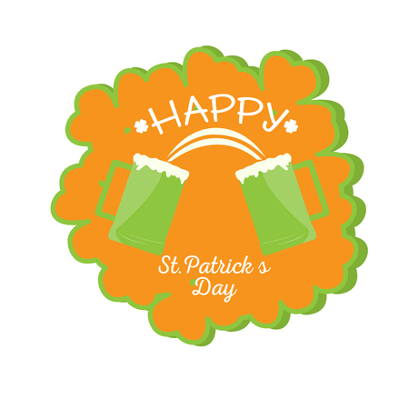 Patrick day label with a pair of beers. Vector illustration design