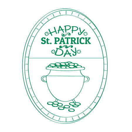 Outline of a patrick day label with a golden coin pot. Vector illustration design