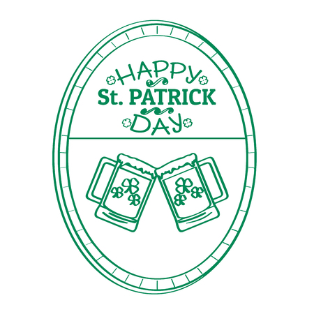 Outline of a patrick day label with a pair of beers. Vector illustration design