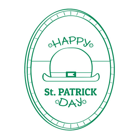 Outline of a patrick day label with a traditional hat. Vector illustration design
