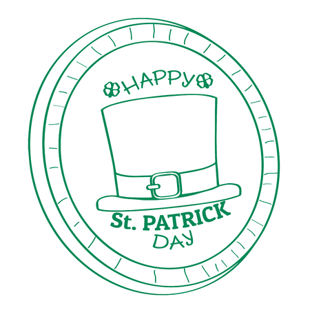 Outline of a golden coin with an irish hat icon. Vector illustration design Illustration