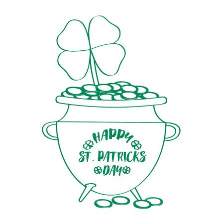 Outline of a golden coin pot with a clover. Patrick day. Vector illustration design Illustration