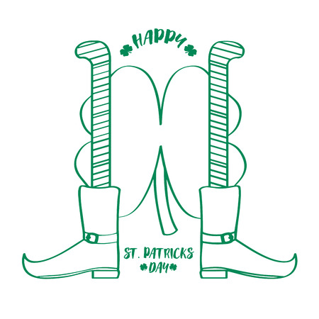 Outline of a pair of irish elf legs and a clover. Patrick day. Vector illustration design Illustration