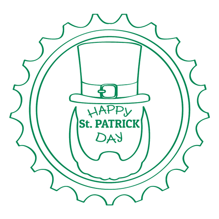 Outline of a patrick day label with an abstract irish elf. Vector illustration design