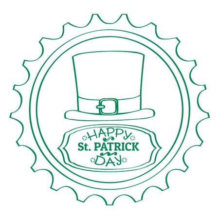 Outline of a patrick day label with irish elf legs. Vector illustration design Illustration