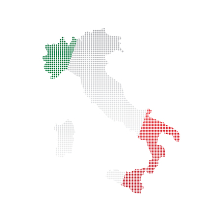 Map of Italy with flag. Pointillism style. Vector illustration design Vetores