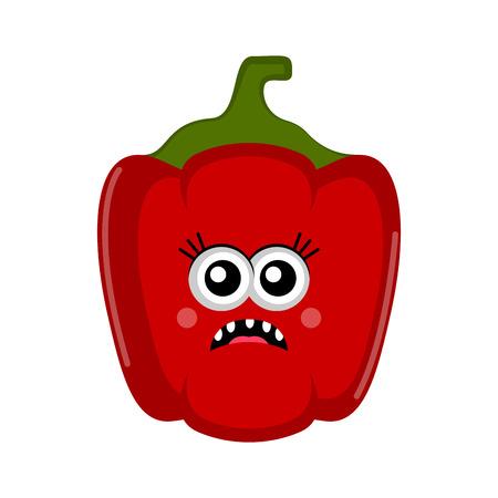 Isolated sad red pepper cartoon. Vector illustration design