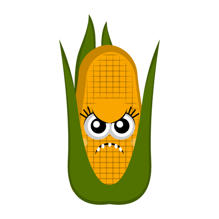 Angry corn cob cartoon. Vector illustration design  イラスト・ベクター素材