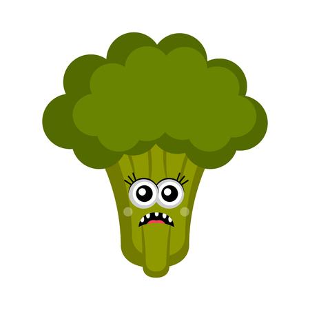 Isolated sad broccoli cartoon. Vector illustration design Illustration