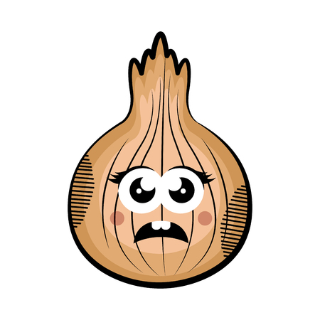 Sad onion cartoon. Colored sketch. Vector illustration design Illustration