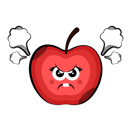 Angry apple cartoon. Colored sketch. Vector illustration design