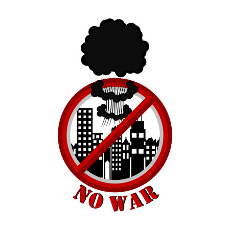 No war banner with an explosion prohibition and buildings. Vector illustration design