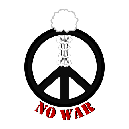 No war banner with a peace symbol and smoke explosion. Vector illustration design Vettoriali