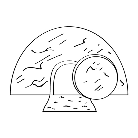 Isolated Jesus tomb outline. Vector illustration design