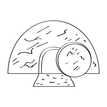 Profilo isolato della tomba di Gesù. Disegno di illustrazione vettoriale