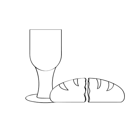 Outline of a chalice with a bread. Holy week. Vector illustration design
