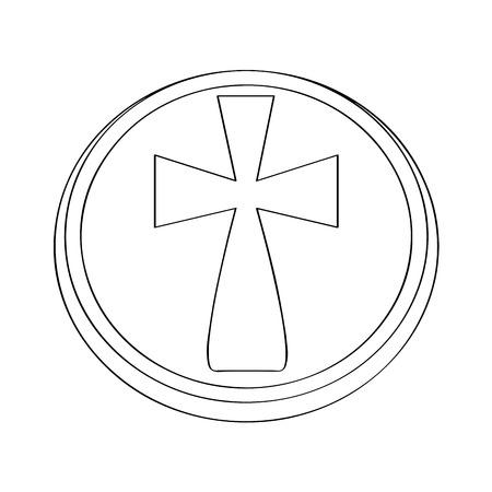 Isolated host outline. Holy week. Vector illustration design