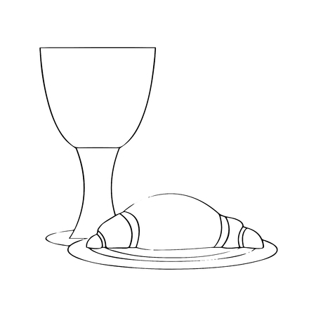 Outline of a bread and wine. Holy week. Vector illustration design Stock Illustratie