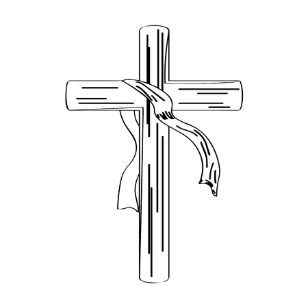 Outline of a cross with a cloth. Holy week. Vector illustration design