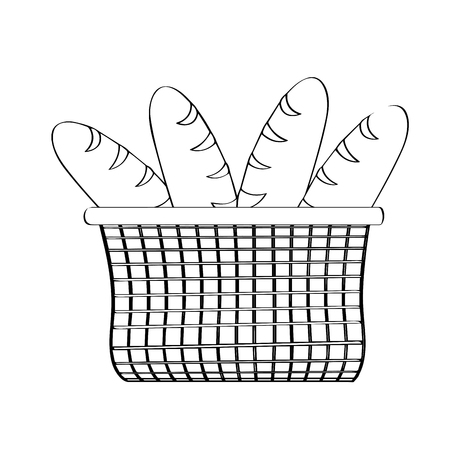 Outline of a basket with breads. Holy week. Vector illustration design Vettoriali