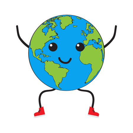 Happy earth planet cartoon. Vector illustration design