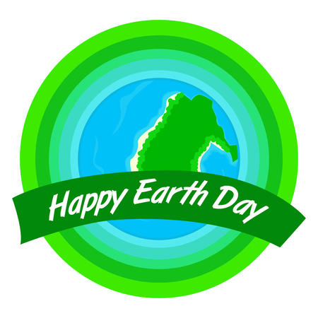 Earth day label. With an island in the ocean Vector illustration design Çizim