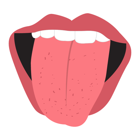 Mouth with tongue out. Vector illustration design Ilustração