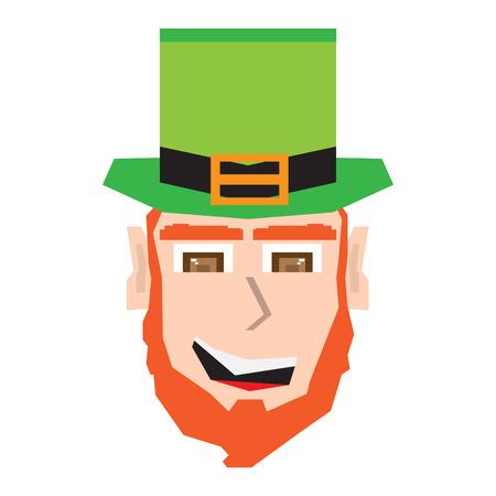Polygonal happy irish elf head. Vector illustration design Vectores