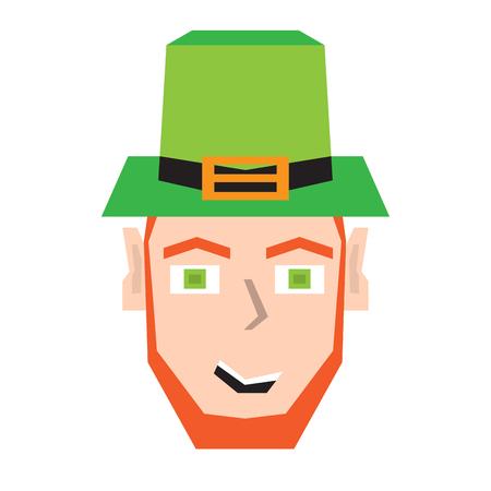 Polygonal happy irish elves head. Vector illustration design