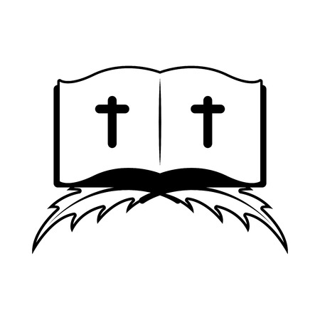Isolated bible on a palm leaves. Vector illustration design