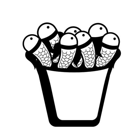 Fishes in a basket icon. Holy week. Vector illustration design Illustration