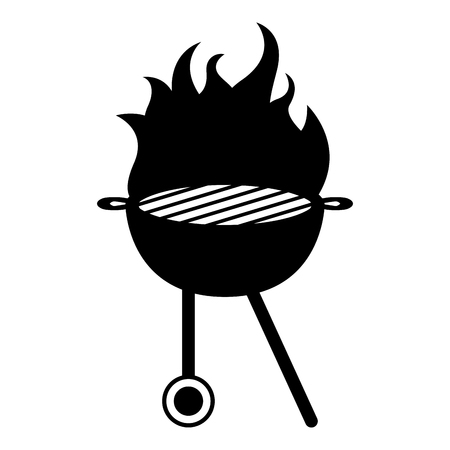 Grill grill ikona w płomieniach. Projekt ilustracji wektorowych