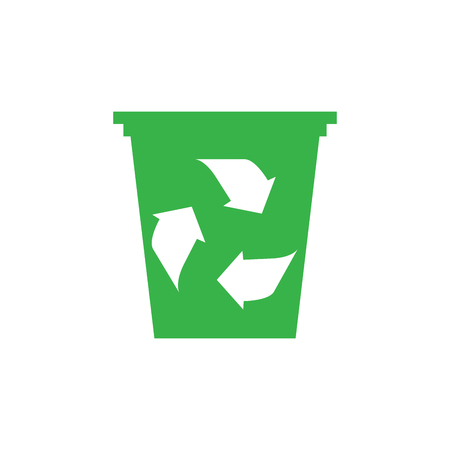 Trash can with recycling symbol. Eco icon. Vector illustration design Illustration
