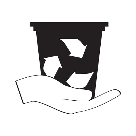 Recycling trash can silhouette on a hand outline. Vector illustration design
