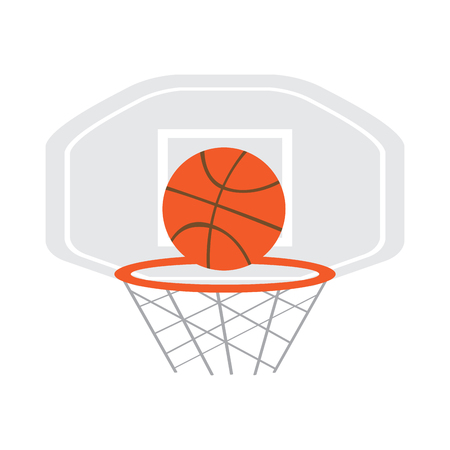 Basketball hoop with a ball. Vector illustration design